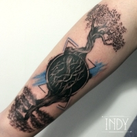 indy artwork absctract dot dots dotwork paris france blue tattoo art arbres trees olivier cèdre du liban racines roots