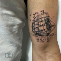 tattoo tatouage tatuaje black work artwork paris france art boat ship ink inked nature sea ocean beach boy fineline engraving engraved dot dots dotwork tattooist