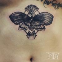 underboobs tattoo butterfly indy artwork tatouage paris artdeco pattern dotwork