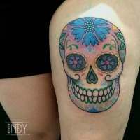 paris france tattoo artist tatoueur tatoueuse tattooist tatouage tatuaje art artwork indy skull crane vanité dot dots dotwork dotworker mexican mexicain santa muerte dia de los muertos colors colours couleurs pattern ink inked