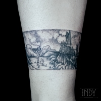 cheville tat tattoo tatouage paris france tattooist tatoueur tatoueuse art bodyart ink inked dot dotwork graphic inker dotworker artist poudlard hogwarts harry potter hagrid landscape paysage bracelet