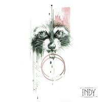tattoo flash tatouage design motifs raccoon raton laveur graphic composition