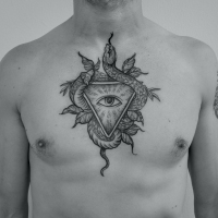 tat tattoo tatouage paris cannes cote d'azur nice france tattooist tatoueur tatoueuse art bodyart ink inked dot dotwork graphic inker dotworker artist pattern motif symbole salon tattooshop blackwork serpent snake chest torse pec oeil eye leaves feuilles noir et gris dotwork