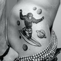 tat tattoo tatouage paris france tattooist tatoueur tatoueuse art bodyart ink inked dot dotwork graphic inker dotworker artist pattern motif symbol minimalist blackwork singe monk monkey planete planets surf surfing banane banana short galaxy galaxie