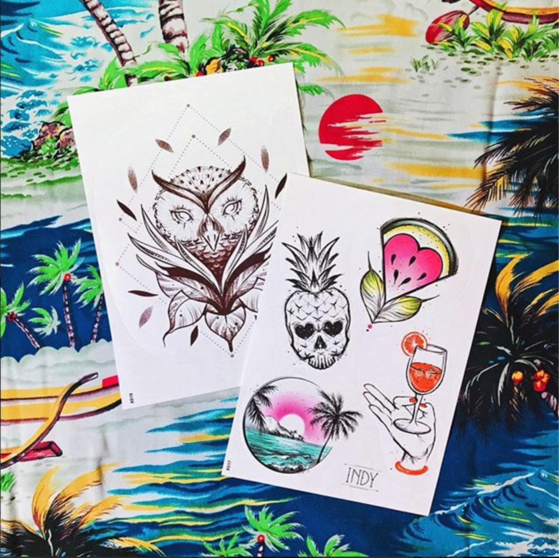 tattoo tatouage temporaire ephemere owl trash summer paris cannes été